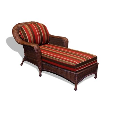 Fleischmann Chaise Lounge with Cushion Finish: Mojave, Fabric: Monserrat Sangria