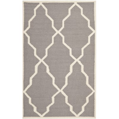 Brambach Hand-Woven Wool Grey/Ivory Area Rug Rug Size: Rectangle 3 x 5