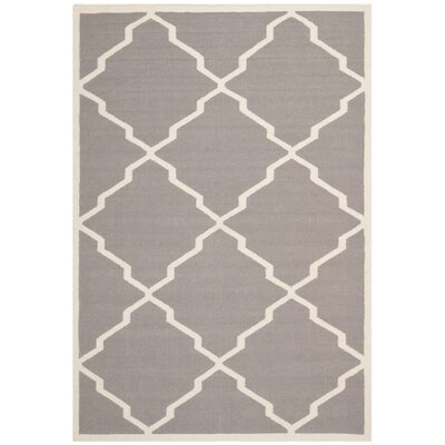 Brambach Hand-Woven Wool Grey/Ivory Area Rug Rug Size: Rectangle 5' x 8'