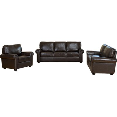Darby Home Co DBHC6246 27711850 Coggins 3 Piece Italian Leather Sofa, Loveseat and Armchair