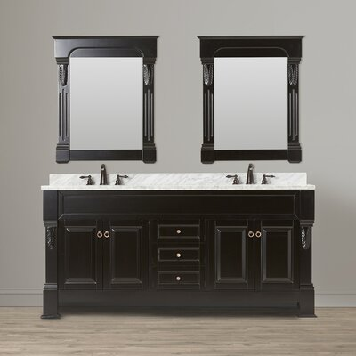 Corte 72 Double Bathroom Vanity Set with Mirror Top Finish: Carrara White, Base Finish: Espresso