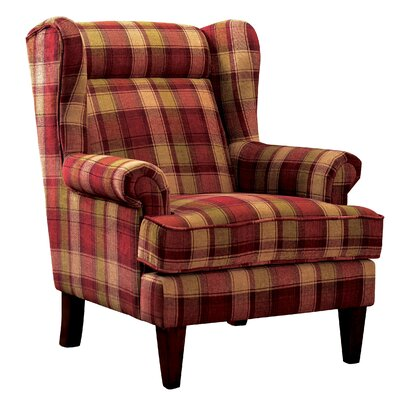Finley Plaid Print Wingback Chair Color: Red