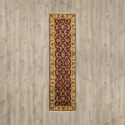 Hindsboro Hand-Knotted Red/Gold Area Rug