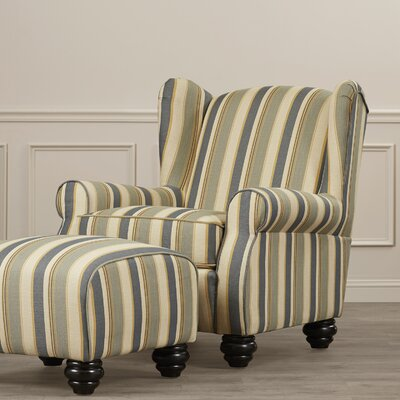 Brougham Wingback Chair and Ottoman Finish: Blue