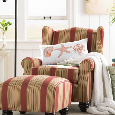 Brougham Wingback Chair and Ottoman Finish: Crimson