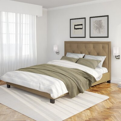 Debord Upholstered Platform Bed Size: Queen, Color: Latte