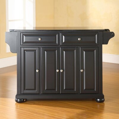 Pottstown Kitchen Island with Granite Top Base Finish: Black