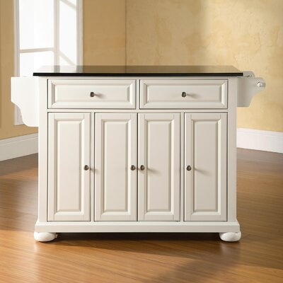 Pottstown Kitchen Island with Granite Top Base Finish: White