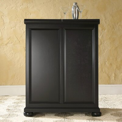 Pottstown Expandable Bar Cabinet with Wine Storage Finish: Black
