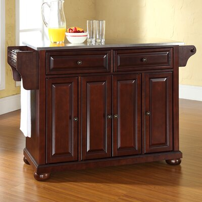 Pottstown Kitchen Island with Stainless Steel Top Base Finish: Vintage Mahogany