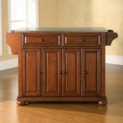 Pottstown Kitchen Island with Stainless Steel Top Base Finish: Classic Cherry