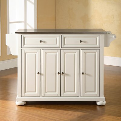 Pottstown Kitchen Island with Stainless Steel Top Base Finish: White