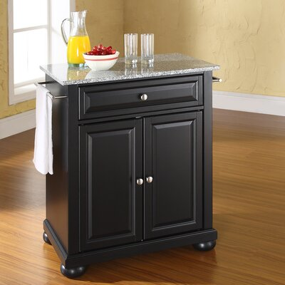 Pottstown Kitchen Cart with Granite Top Base Finish: Black