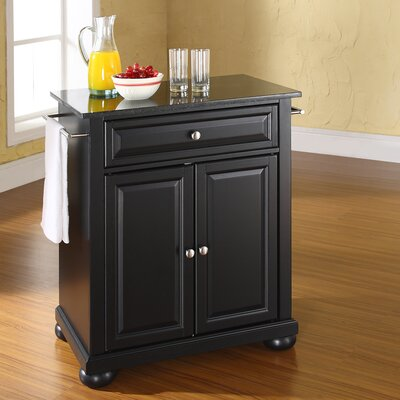 Pottstown Solid Black Granite Top Portable Kitchen Island Base Finish: Black