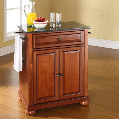 Pottstown Solid Black Granite Top Portable Kitchen Island Base Finish: Classic Cherry