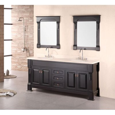 Corte 72 Double Bathroom Vanity Set with Mirror Top Finish: Travertine, Base Finish: Espresso
