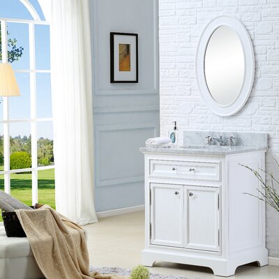 Alba 24 Single Sink Bathroom Vanity Set with Mirror and Faucet - White