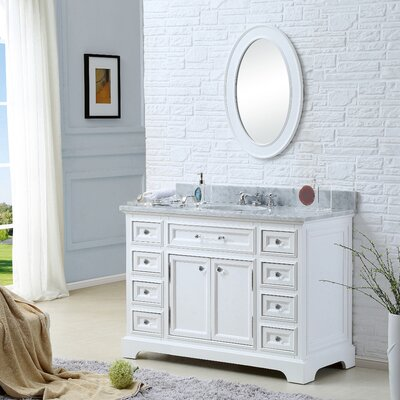 Alba 48 Single Sink Bathroom Vanity Set with Mirror and Faucet - White