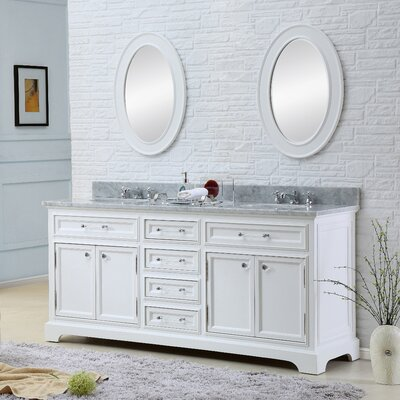 Alba 72 Double Sink Bathroom Vanity Set with Mirror and Faucets - White