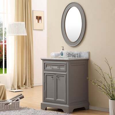 Bergin 24 Single Sink Bathroom Vanity Set with Mirror and Faucet - Grey
