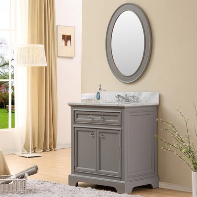 Bergin 30 Single Sink Bathroom Vanity Set with Mirror and Faucet - Grey