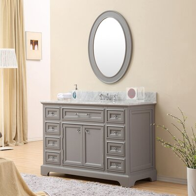 Bergin 48 Single Sink Bathroom Vanity Set with Mirror and Faucet - Grey
