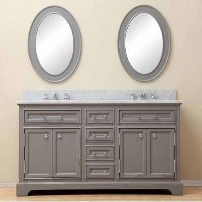 Bergin 60 Double Sink Bathroom Vanity Set with Mirror and Faucets - Grey