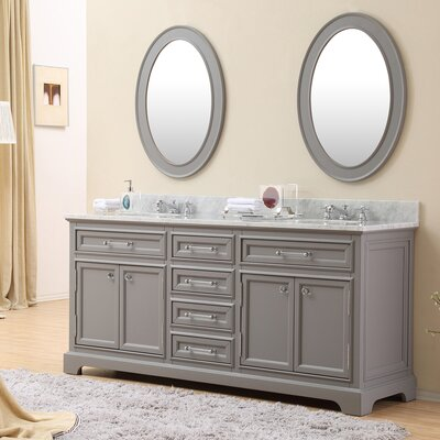 Colchester 72 Double Sink Bathroom Vanity Set with Mirror and Faucets - Grey