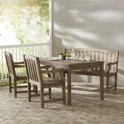 Densmore Rectangular Dining Table, Bench and Armchair Set