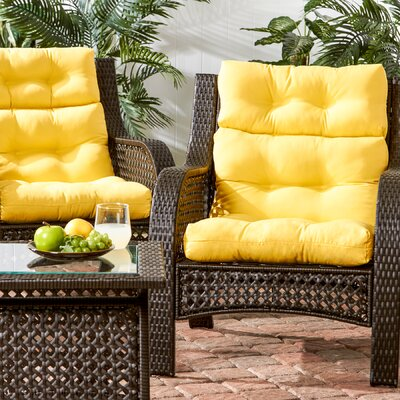 Outdoor High Back Chair Cushion Fabric: Sunbeam Yellow