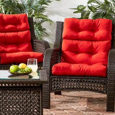 Outdoor High Back Chair Cushion Fabric: Salsa Red