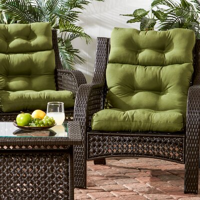 Outdoor High Back Chair Cushion Fabric: Summerside Green
