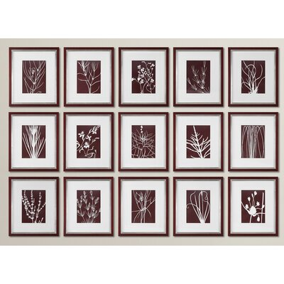 Abstract Marsala Floral Print 15 Piece Framed Graphic Art Set