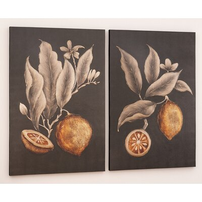Citrus Study Hand Painted 2 Piece Painting Print on Canvas Set