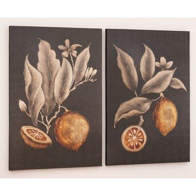 Citrus Study Hand Painted 2 Piece Painting Print on Canvas Set