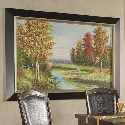 Country Creek Landscape Framed Painting Print on Canvas