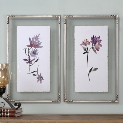 Floral Watercolors 2 Piece Framed Painting Print Set