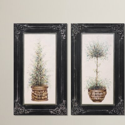 Topiaries Hand Painted 2 Piece Framed Painting Print
