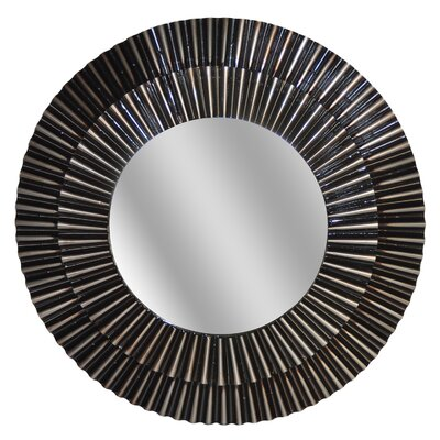 Round Black/Silver Pleated Mirror