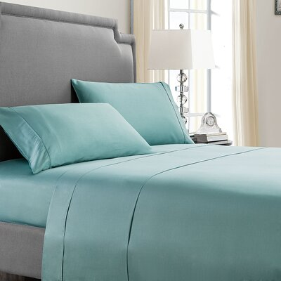 Mulhall 300 Thread Count 100% Cotton Sheet Set Size: Queen, Color: Aqua