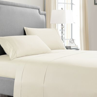 Asro 300 Thread Count 100% Cotton Sheet Set Size: King, Color: Off White