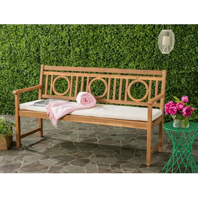 Kuhlmann 3 Seat Acacia Garden Bench Finish: Teak Brown/Beige