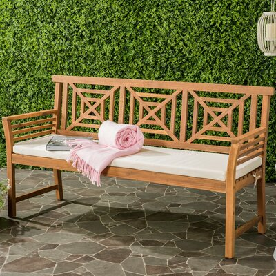 Garrity 3 Seat Acacia and Polyester Garden Bench Finish: Teak Brown/Beige