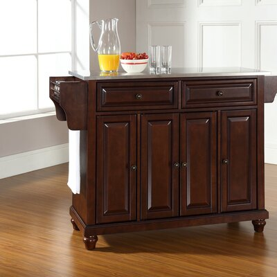 Goreville Kitchen Island with Stainless Steel Top Base Finish: Vintage Mahogany, Top Finish: Stainless Steel