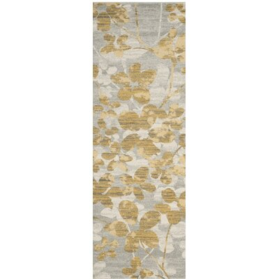 Asherton Gray/Gold Area Rug Rug Size: Runner 2'2 x 7'