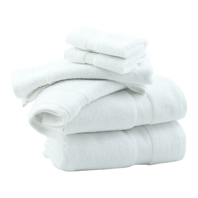 Zero Twist 6 Piece Towel Set Color: White