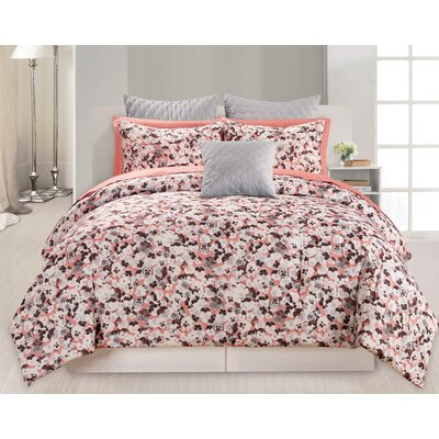 Barton 10 Piece Queen Comforter Set Color: Atlantic Salmon, Size: King