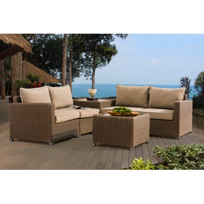 Atchley 4 Piece Deep Seating Group with Cushion