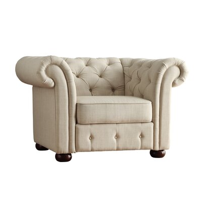 Fairlawn Tufted Button Arm Chair in Beige