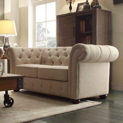 Fenmore Button Tufted Loveseat Upholstery: Beige